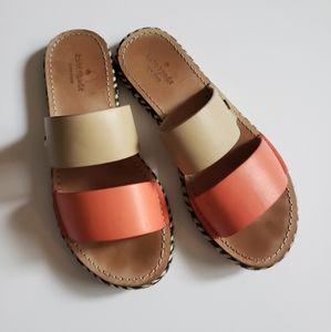 Kate Spade Idreena Slides Pink Tan Leather 7.5